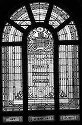 [stained glass window at fletcher free library]
