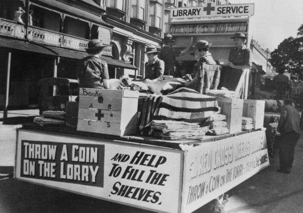 StateLibQld_1_131955_Book_Depot_float,_Red_Cross_Procession,_Brisbane,_1944