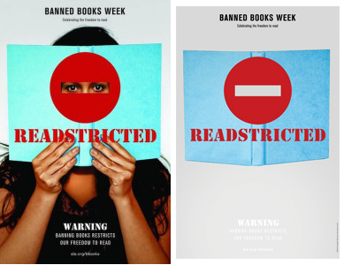 banned books week poster before and after