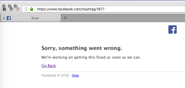something went wrong facebook error