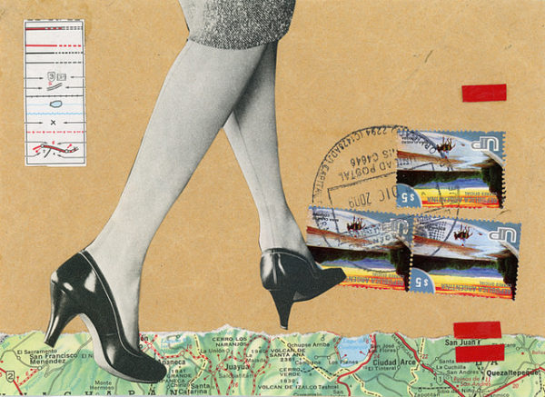 collage image of a woman's feet and part of a map, a postmark and some stamps
