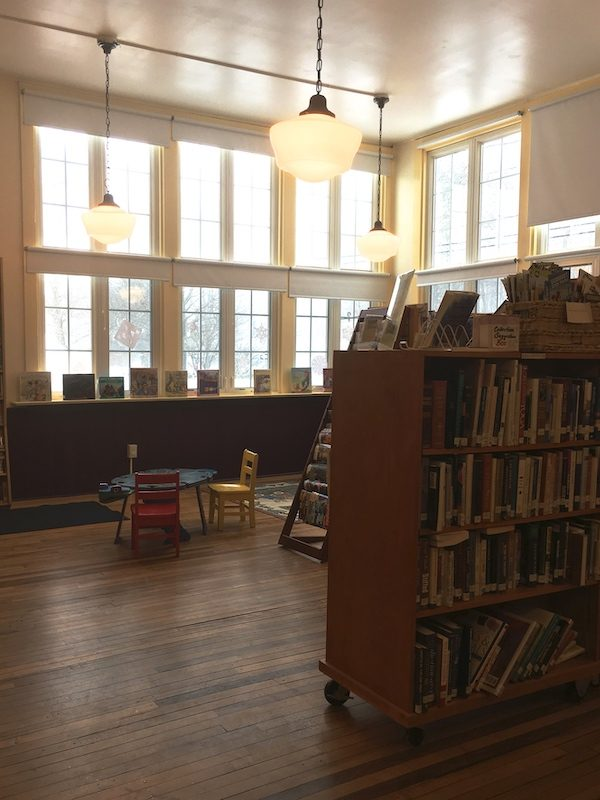 interior of a small public library in Hancock Vermont