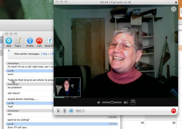 an image showing me interacting with my mom over Skype