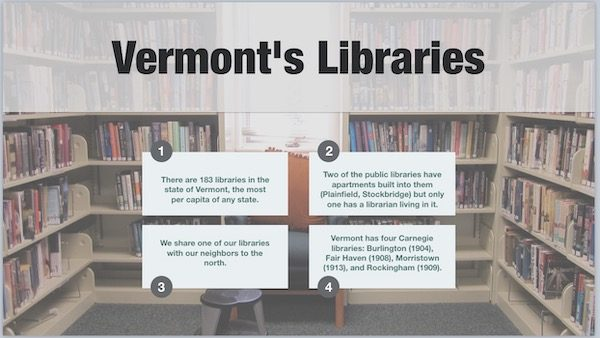 slide showing trivia facts about vermont's libraries readable at the URL given