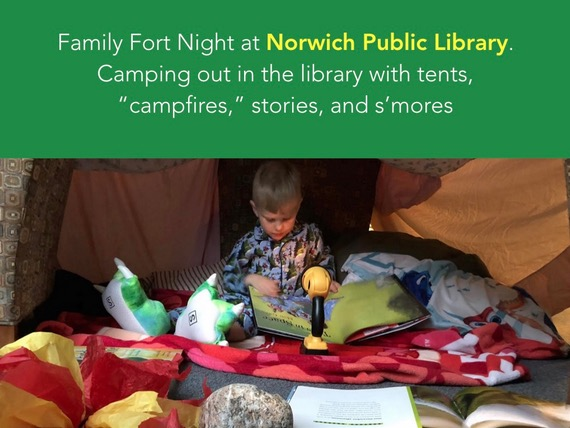 slide showing a kid on a library sleepover with text describing the library's program