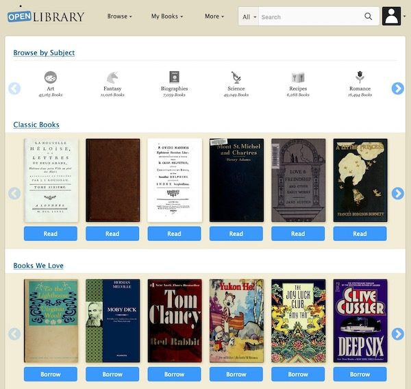 screen shot from openlibrary.org