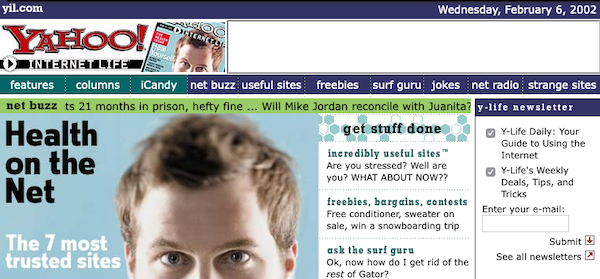 screenshot of the Yahoo Internet Life web site from 2002