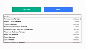 "Screenshot of this tool showing a search for ""Vermont"" which shows a drop down list of matching categories"