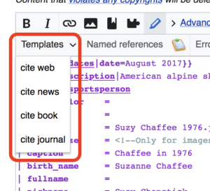 screenshot of a segment of a wikipedia editing toolbar showing the section where the citation tools are in the upper left.