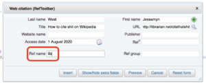 screenshot of the add citation box with the little section where REF goes (lower left) highlighted
