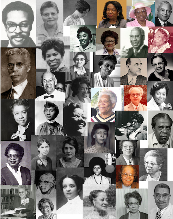 collage of photographs of 41 librarians of color ranging from old black and white ones to much newer color photographs.