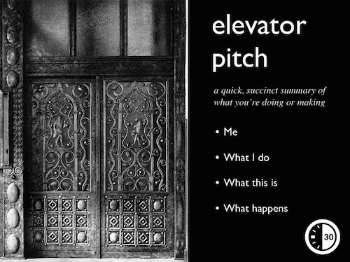 how do to an elevator speech in one slide