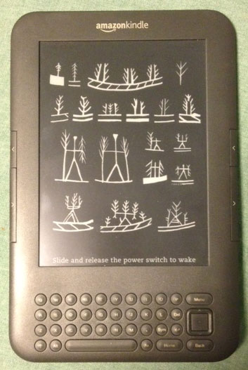 kindle with custom screensaver on
